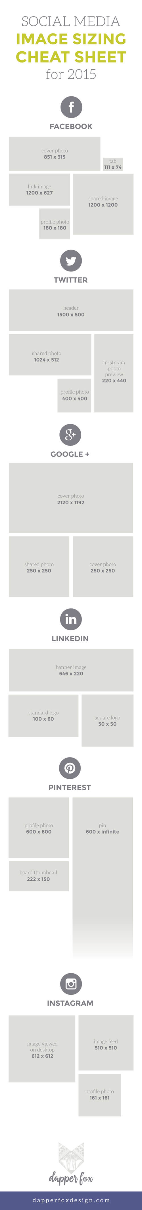 2015 Social Media Image Sizing Cheat Sheet by Dapper Fox Design//   Website Design - Branding - Logo Design - Entrepreneur Blog and Resource