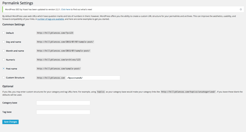 Permalinks in Wordpress for Billy Blanco's - Dapper Fox Design