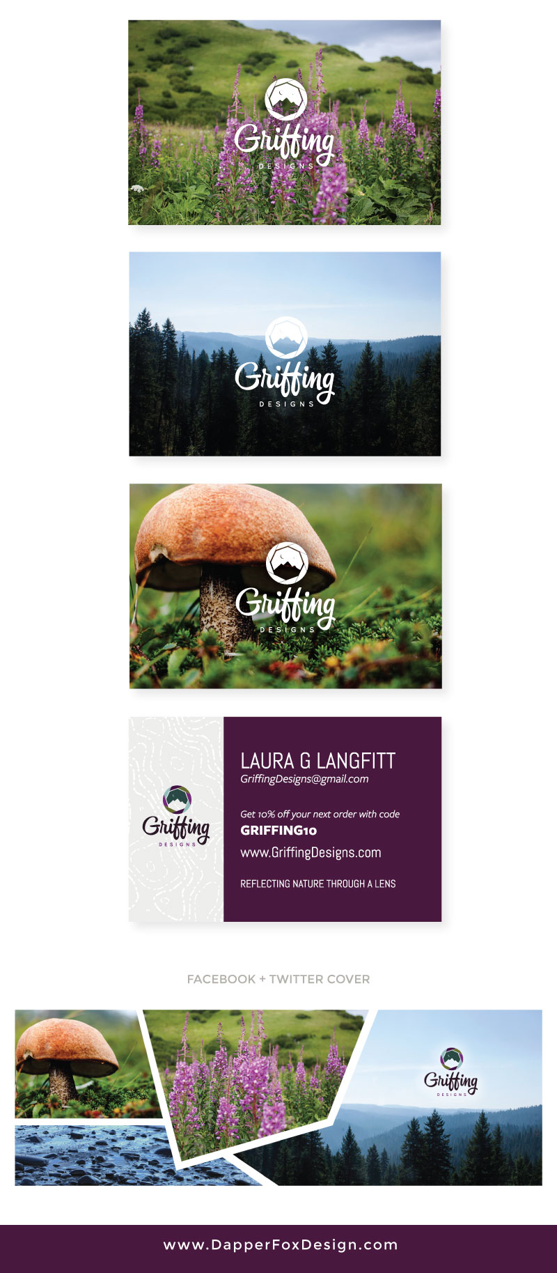 Business Cards and Social Media for Griffing Designs - Modern Logo Design, Earthy, Green, Blue, Purple Branding, Artistic Logo. Brand and Websites by Dapper Fox Design