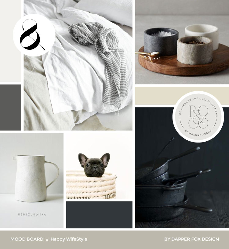Happy WifeStyle Modern Neutral Mood Board - Classy High End - Design by Dapper Fox