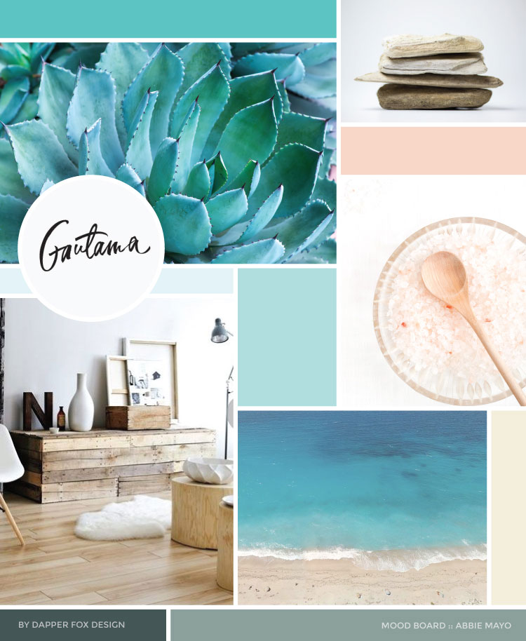 Mood Board Ocean- Inspired Modern Logo and Brand Design by Dapper Fox - Health Coach Abbie Mayo