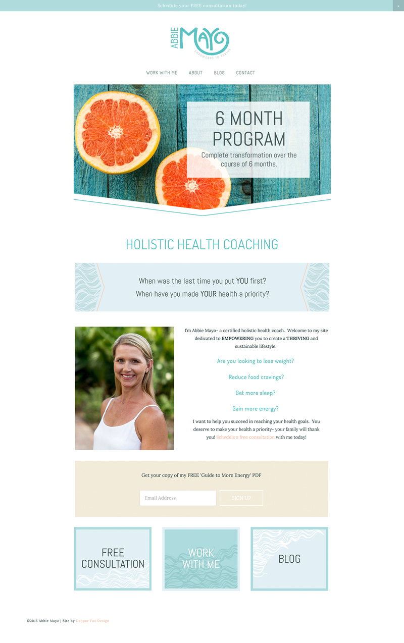 Website Design for Health Coach Abbie Mayo - Modern Clean Web and Blog by Dapper Fox