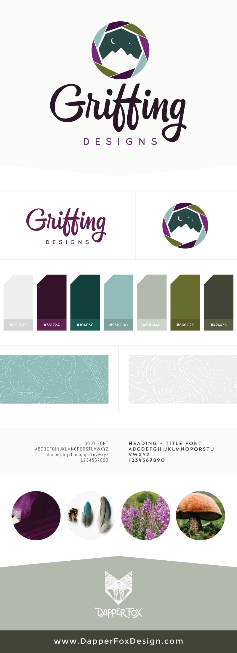 Brand Board for Griffing Designs - Modern Logo Design, Earthy, Green, Blue, Purple Branding, Artistic Logo. Brand and Websites by Dapper Fox Design