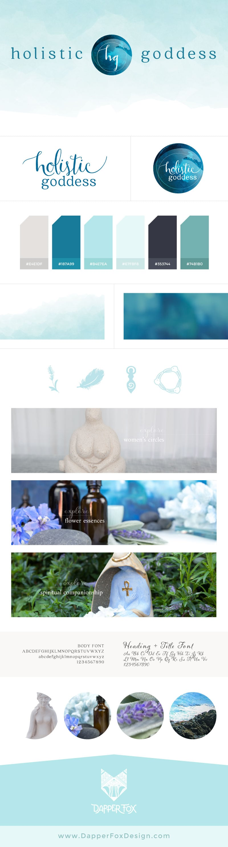Holistic Goddess Brand Board and Logo Design by Dapper Fox Design - Ocean Logo, blue, modern logo design