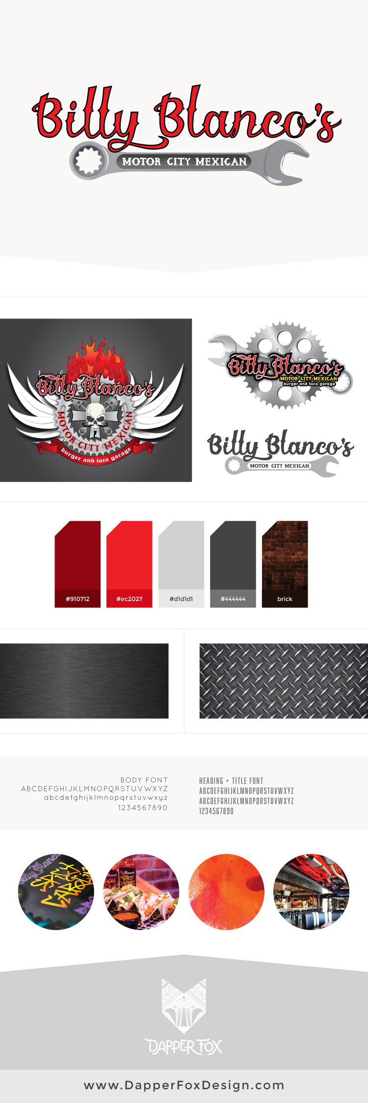 Billy Blanco's Restaurant in Park City - Branding and Logo Design by Dapper Fox - Masculine, Modern and Unique Logo Design