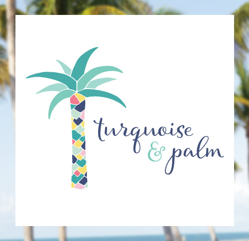Turquoise and Palm Logo Design by Dapper Fox - Feminine, Chic, Modern Branding and Logo Design