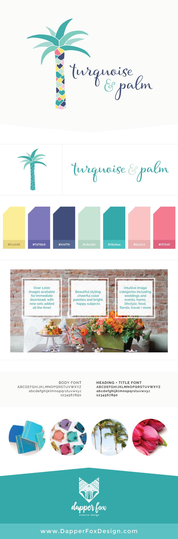 Turquoise and Palm Logo Design by Dapper Fox - Feminine, Modern Branding and Logo Design