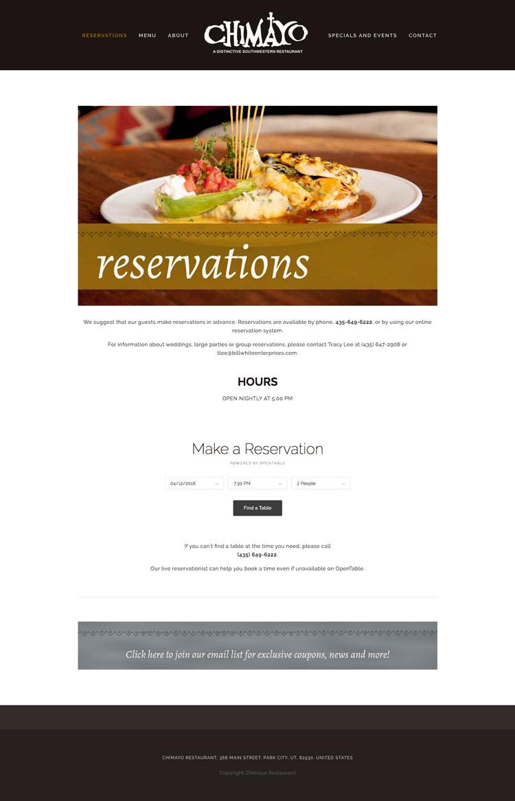 Park City Restaurant Website Design by Dapper Fox