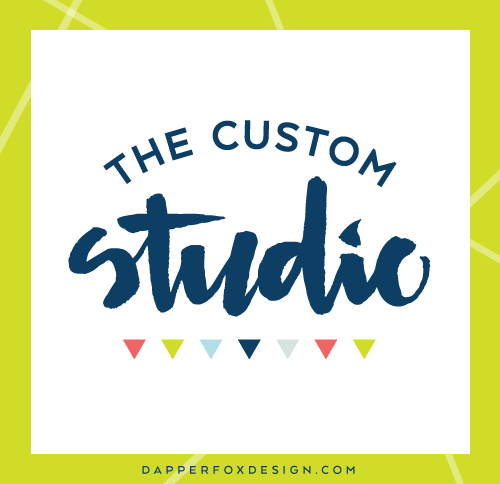 The Custom Studio Hand Lettered Logo Design and Brand by Dapper Fox Design - Bright, Modern, Feminine, Lime Green, Navy, Coral Pink Color Palette