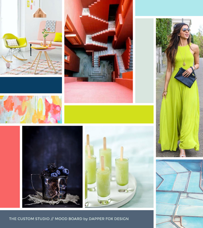 The Custom Studio Mood Board by Dapper Fox Design - Bright, Modern, Feminine, Lime Green, Navy, Coral Pink Color Palette