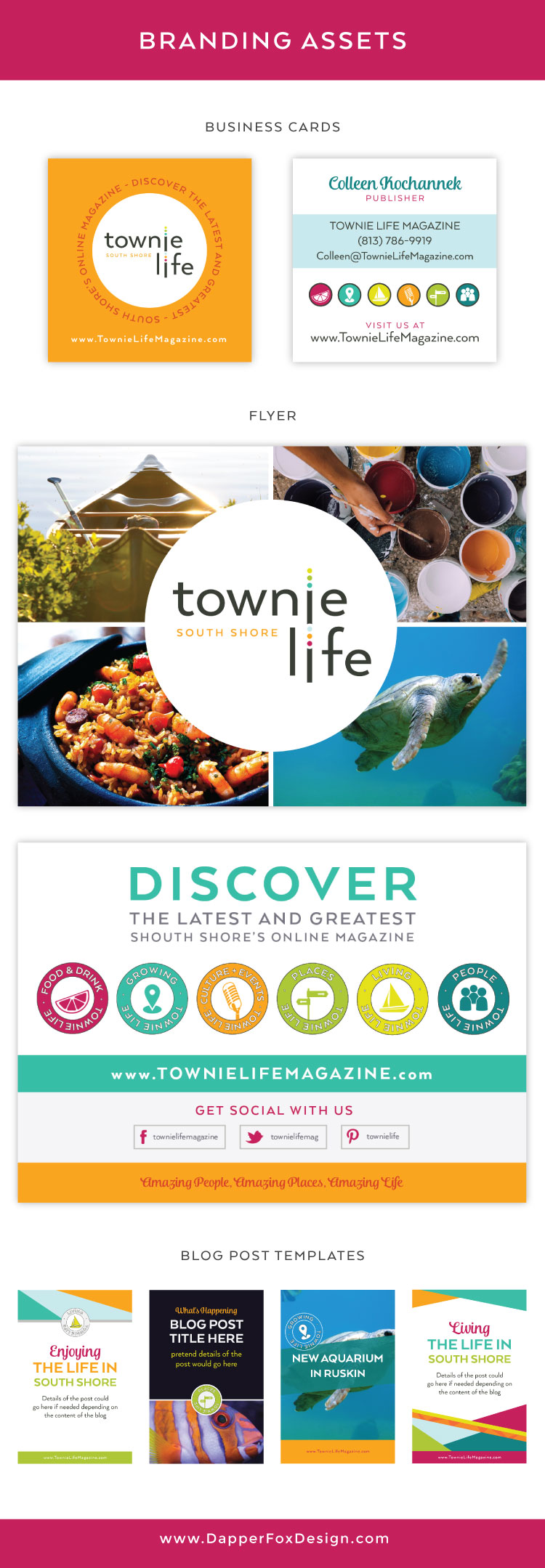 Business Cards, Flyer, Postcard and Blog Post Template - Logo Design and Branding Board for Townie Life Magazine and Lifestyle Blog of South Shore Florida - Logo, Blog and Website Design by Dapper Fox in Park City, Utah. Bright - Colorful - Modern - Tropical - Turquoise - Orange