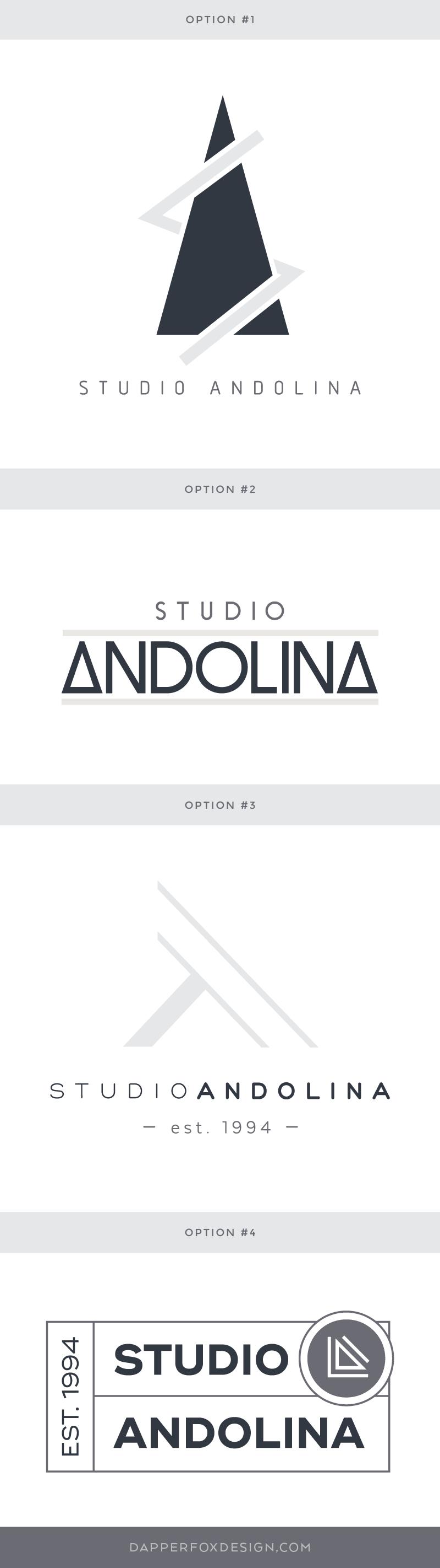 Logo Design options for StudioAndolina by Dapper Fox - Modern Logo Design, #masculine #neutral #branding #logo #logodesign #modernlogo