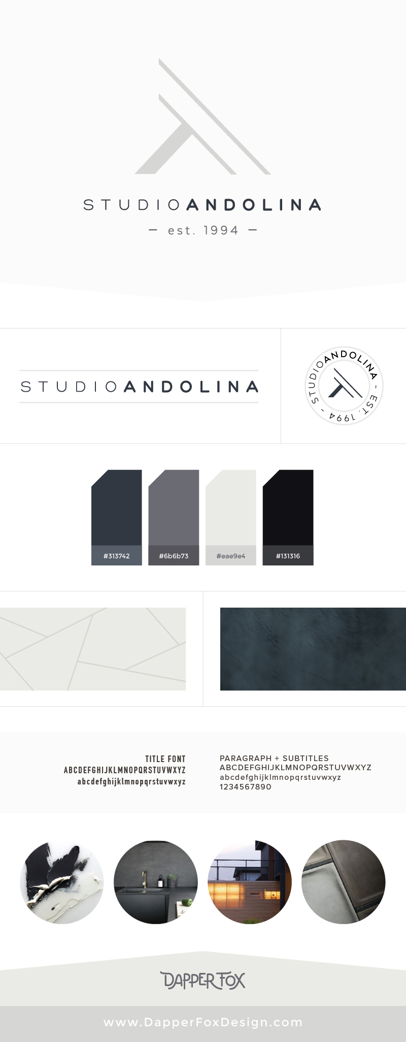 Logo Design options for StudioAndolina by Dapper Fox - Modern Logo Design, #masculine #neutral #branding #logo #logodesign #modernlogo