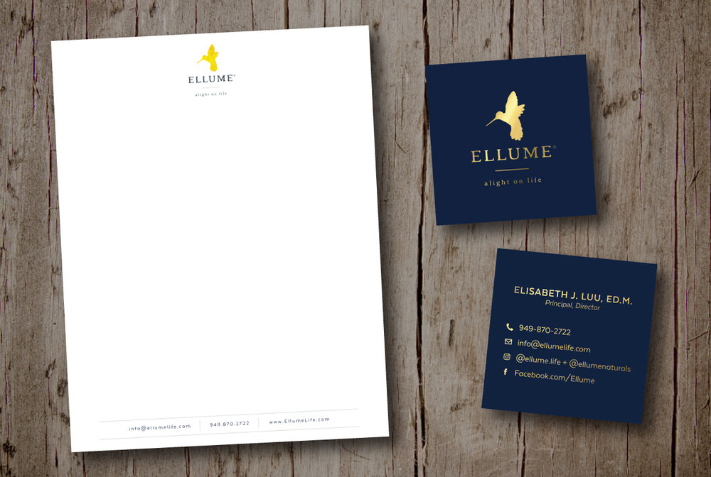 Ellume Eco Friendly Letterhead and Business Card Design by Dapper Fox Design #minimal #modernlogo #bird #logo #watercolorlogo #anthropologic   #artlogo #logodesign #moodboard #yellow #blue #fresh