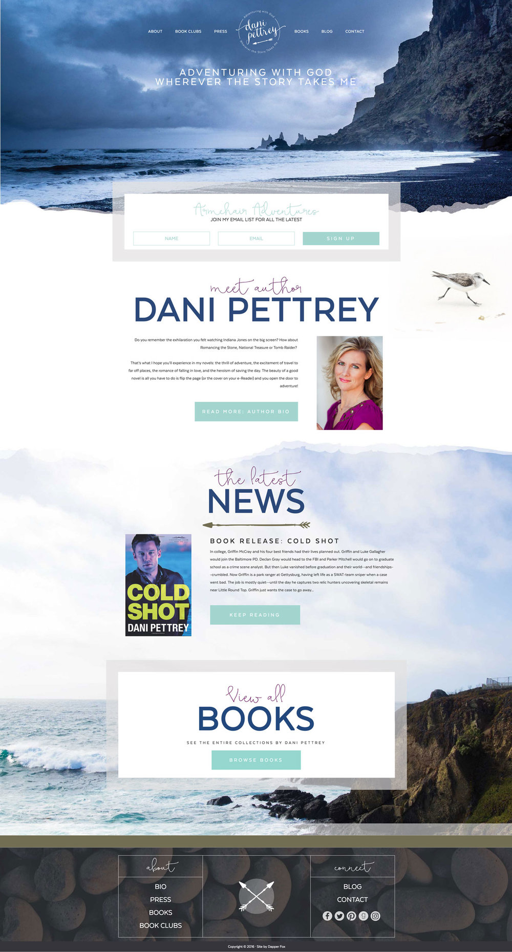 Dani Pettrey Wordpress Website and Branding Design #Coastal #Beach #Ocean #Design #Modern
