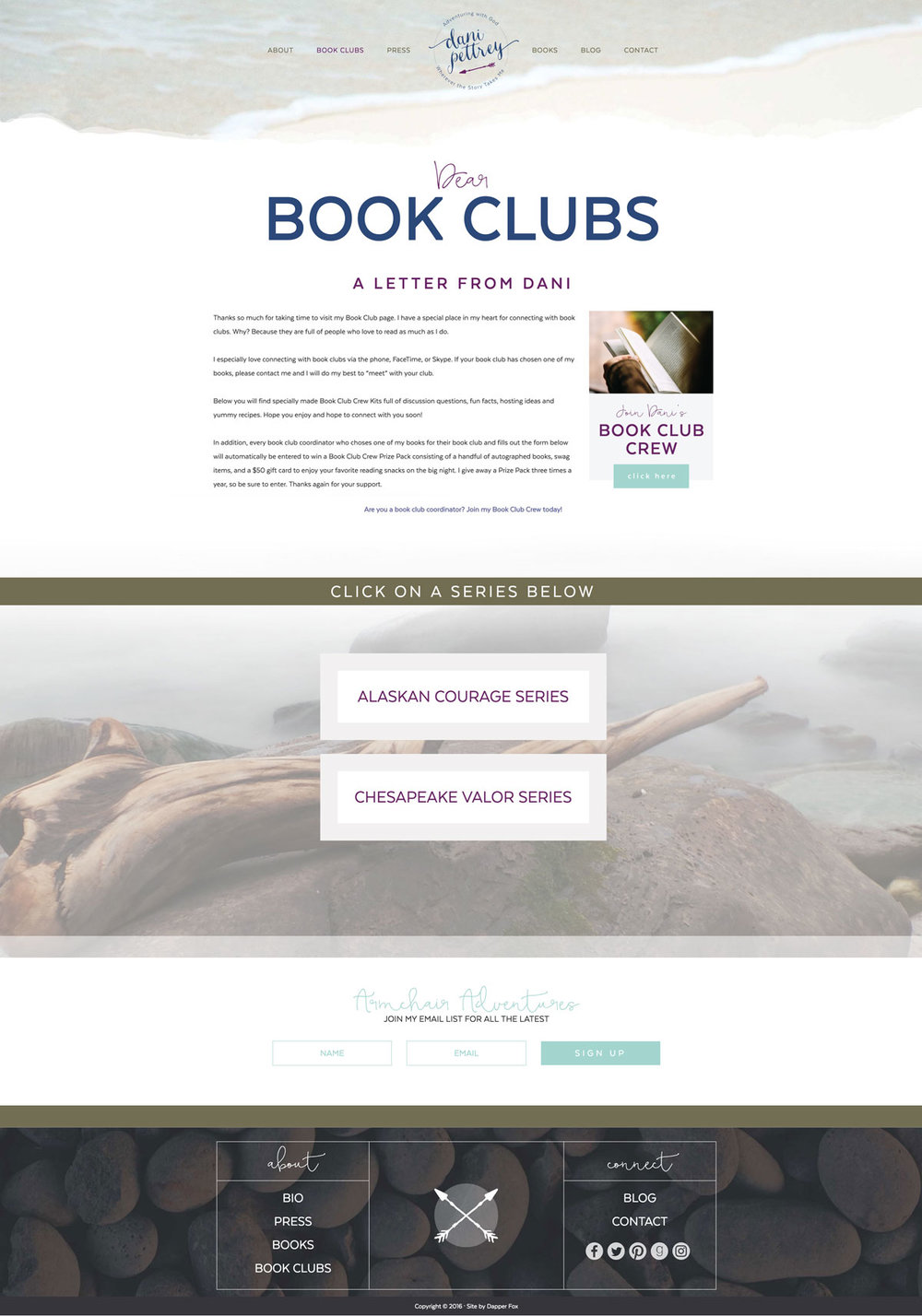 Dani Pettrey Book Author Wordpress Website and Branding Design #Coastal #Beach #Ocean #Design #Modern