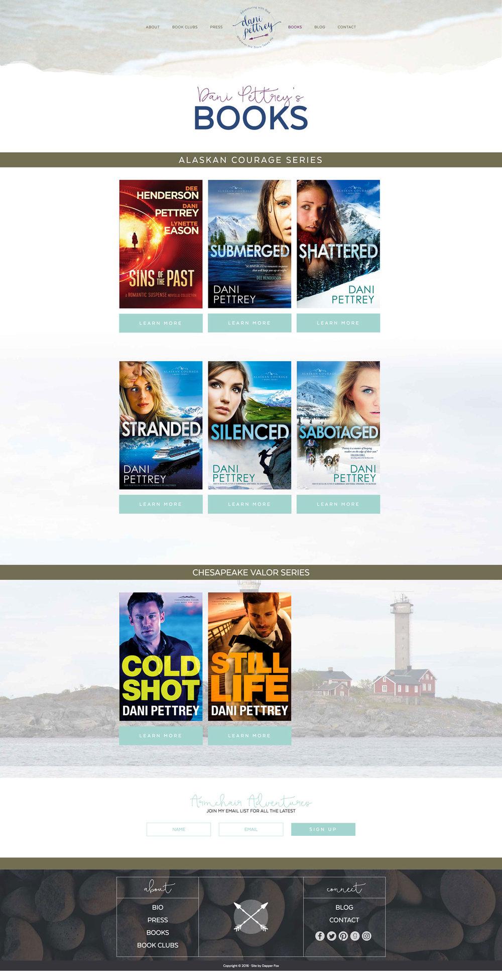 Dani Pettrey Award Winning Book Author Wordpress Website andBranding Design #Coastal #Beach #Ocean #Design #Modern