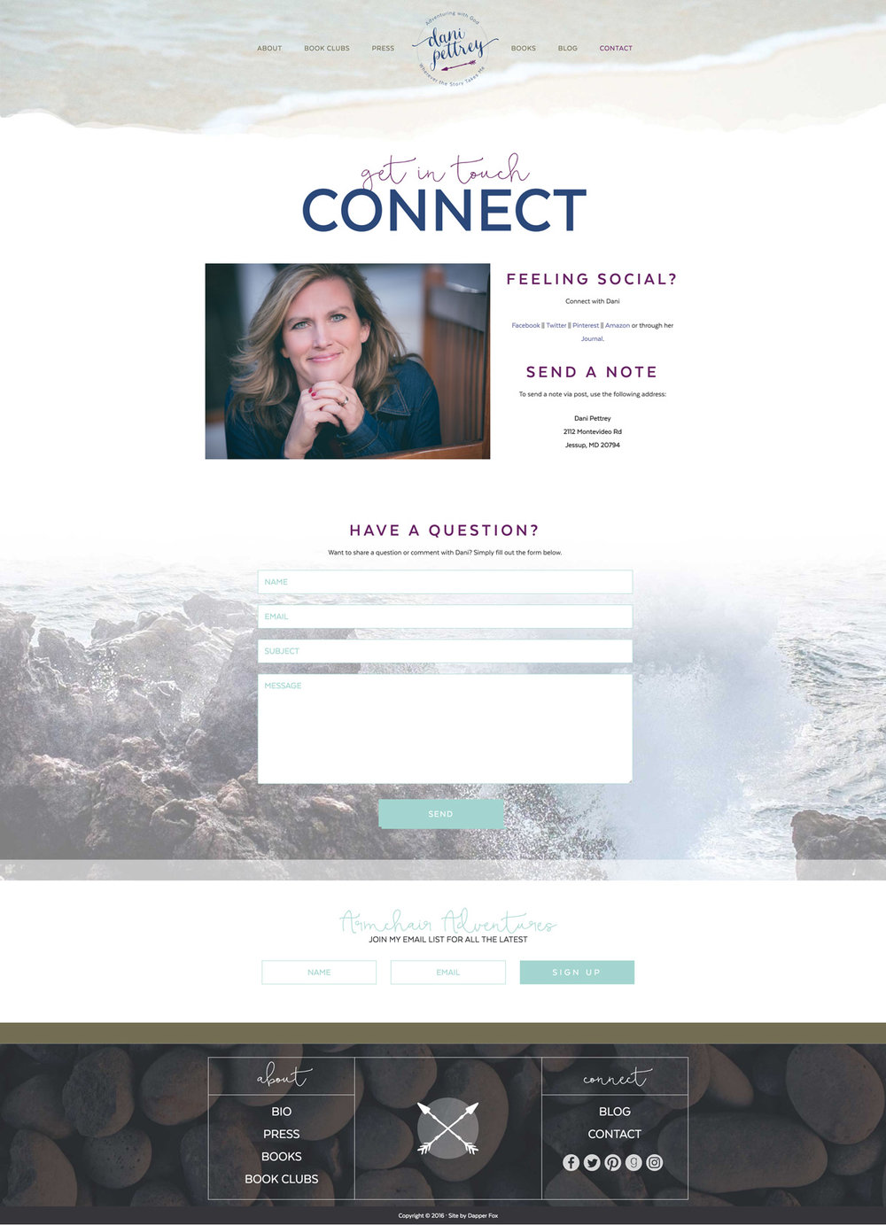 Dani Pettrey Award Winning Book Author Wordpress Website and Branding Design #Coastal #Beach #Ocean #Design #Modern