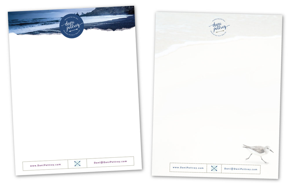 Dani Pettrey Letterhead and Branding Design #Coastal #Beach #Ocean #Design