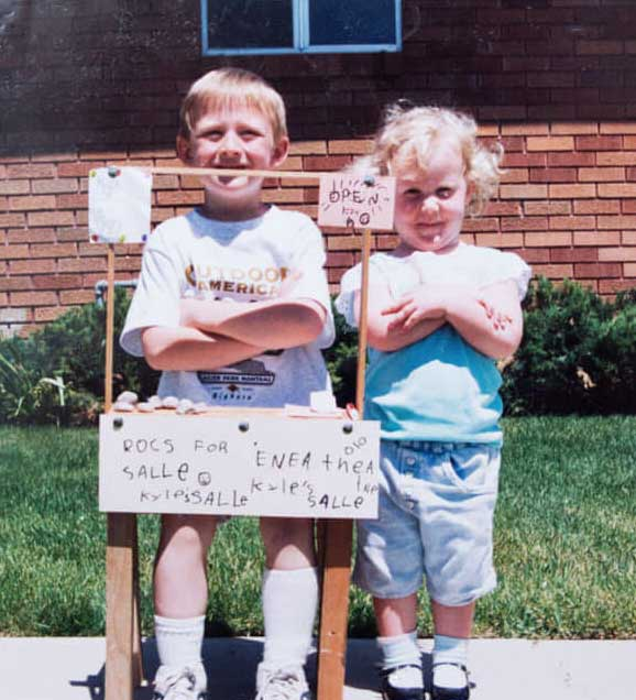 That's me at 5 years old, selling rocks in my front yard.