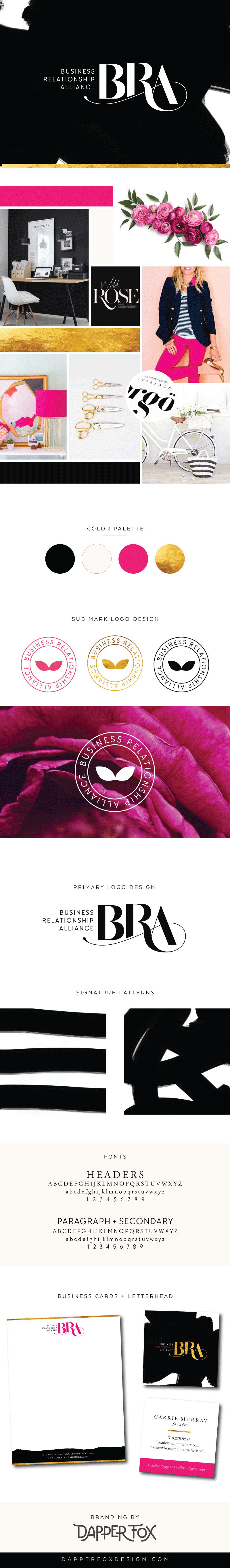 Feminine Modern Logo and Branding Design Black and White, gold and Pink Brand Identity