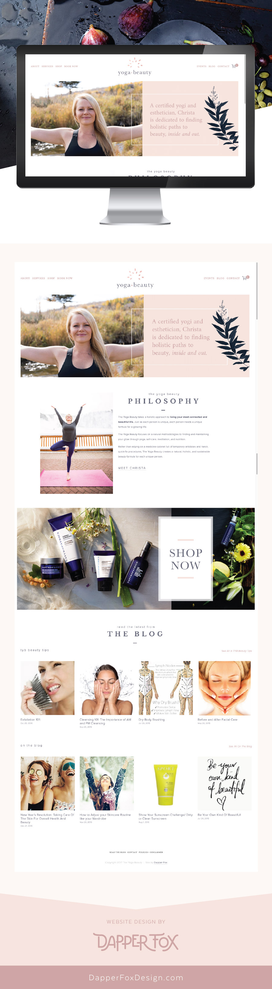 Home Page Design - The Yoga Beauty Squarespace Website Design   and Branding by Dapper Fox Design