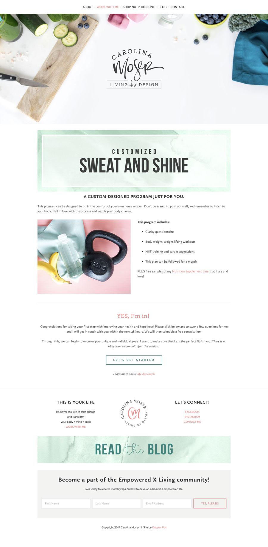 Squarespace Website Design - Nutritionist, Health Coach and Fitness Website Utah Squarespace Website Design and Branding by Dapper Fox Design