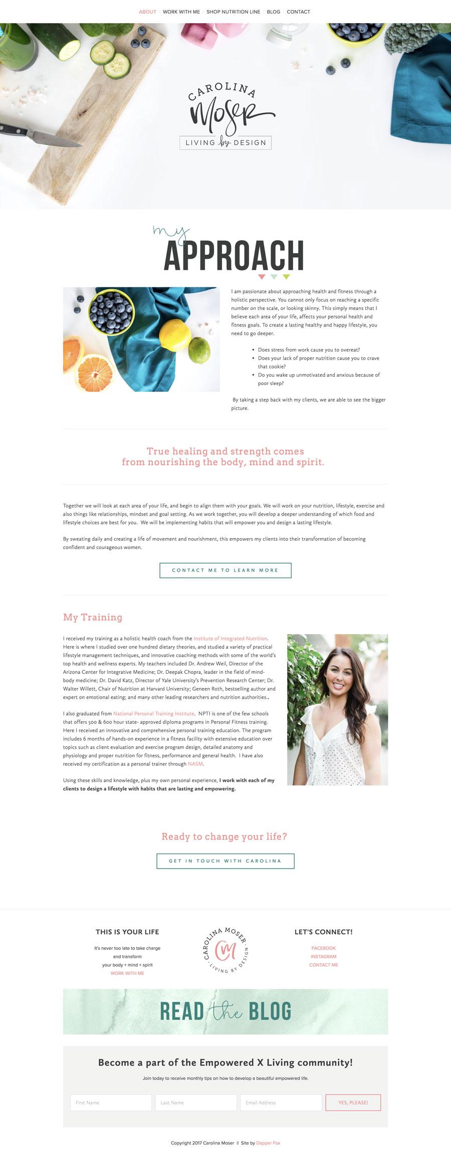 Website Design for Nutritionist, Health Coach and Fitness Website Utah Squarespace Website Design and Branding by Dapper Fox Design