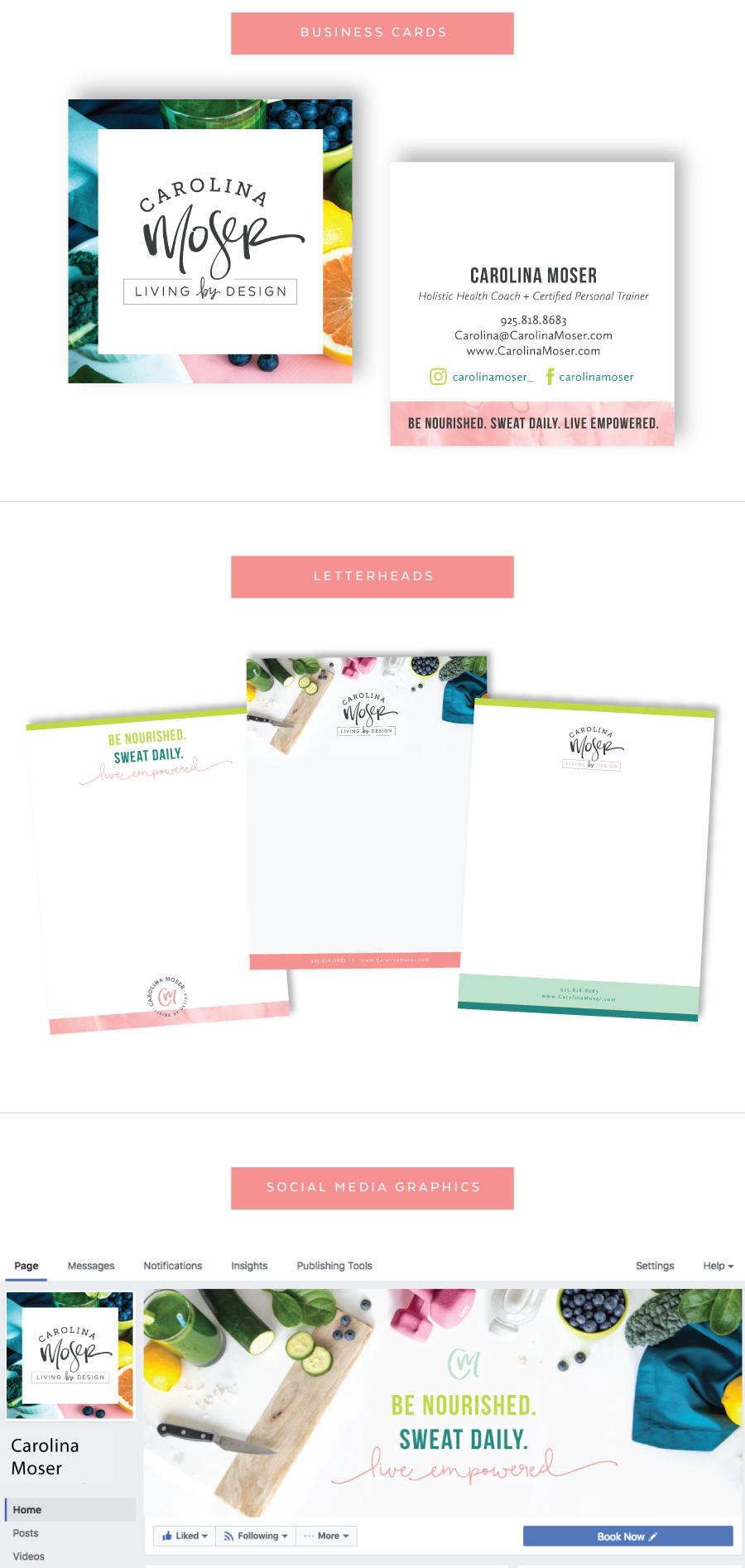 Carolina Moser Business Card Design - Brochure Design - Social Media Graphics - Marketing Materials for Brand