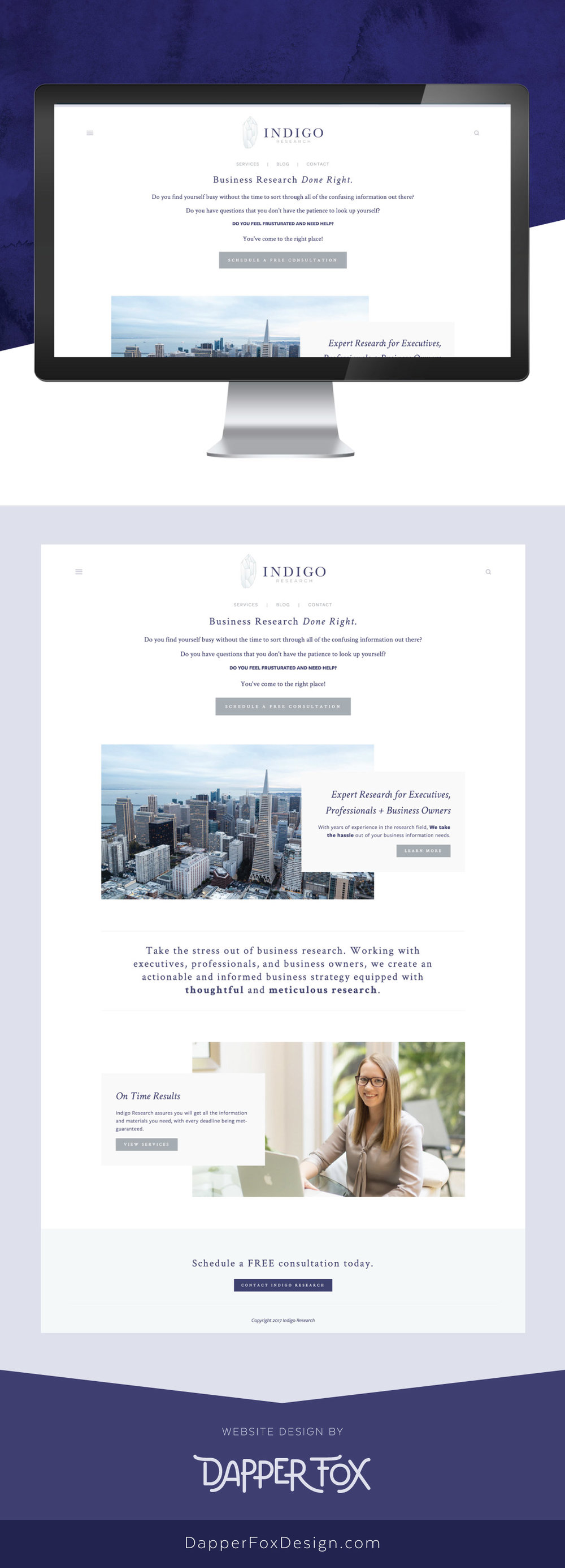 Squarespace Website Design - Indigo Research Florida Squarespace Website Design and Branding by Dapper Fox Design
