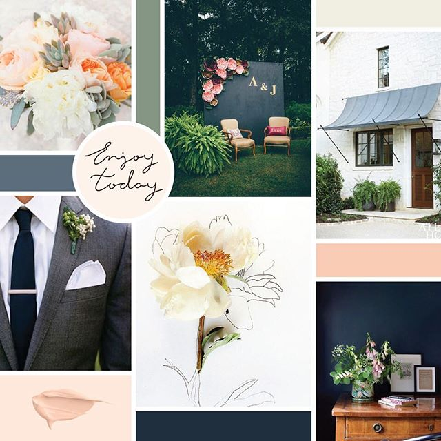 A #branding project in the works... starting things off with a beautiful mood board and color palette for @fivepennyfloral 💐🌷🌺🌸🌹