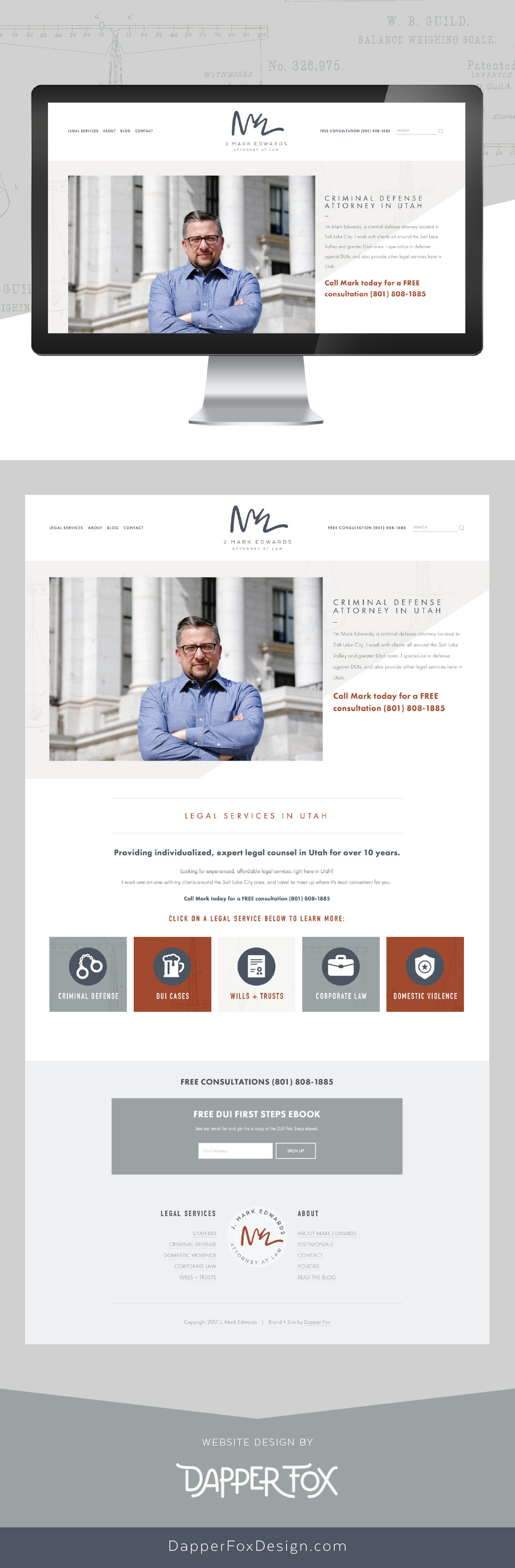 Home Page Design - Mark Edwards Lawyer Utah Squarespace Website Design and Branding by Dapper Fox Design