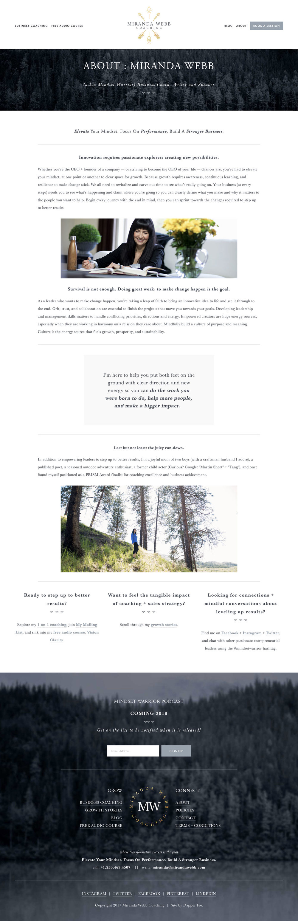 About Miranda, Business Warrior and Mindset Coach Website Design