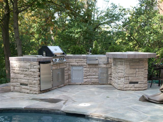 Custom BBQ Island & Stainless Steel Outdoor & Outdoor Refrigerator & Kitchen Islands & Granite Top Outdoor & Kitchens