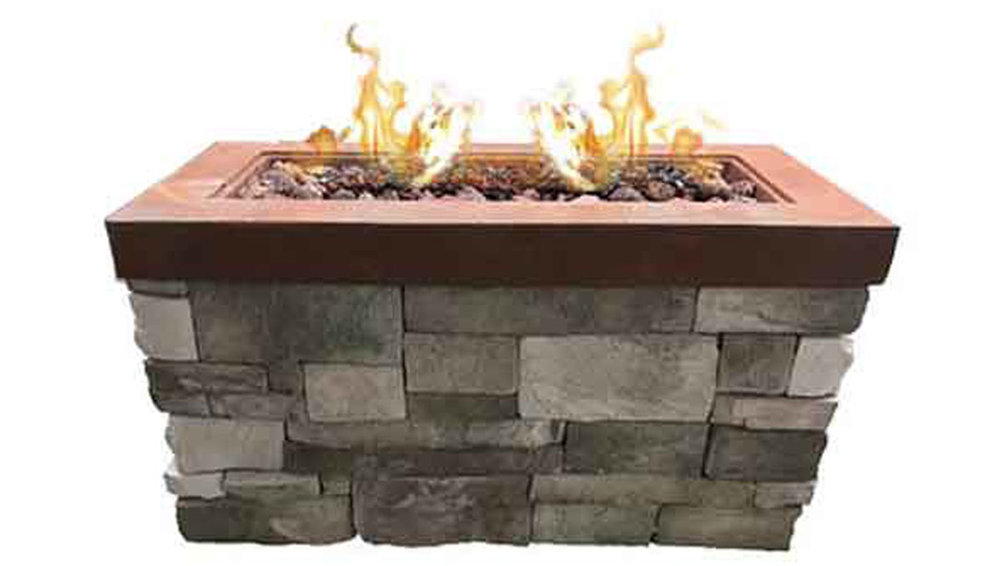 Rectangular Urban Fire Pit - Fiery Rust