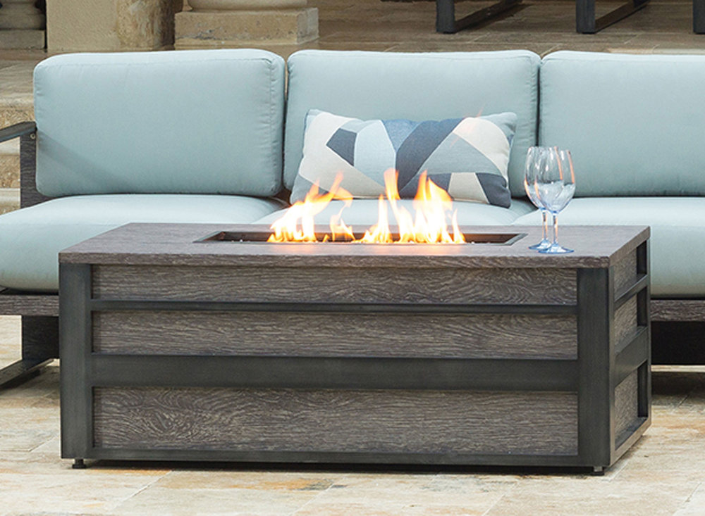 Lucca Rectangular Fire Pit - Smoke