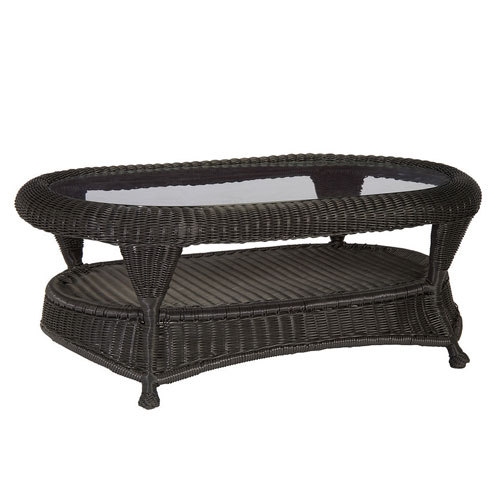 Classic wicker Coffee table - Dimensions: W46.25 D29 H18