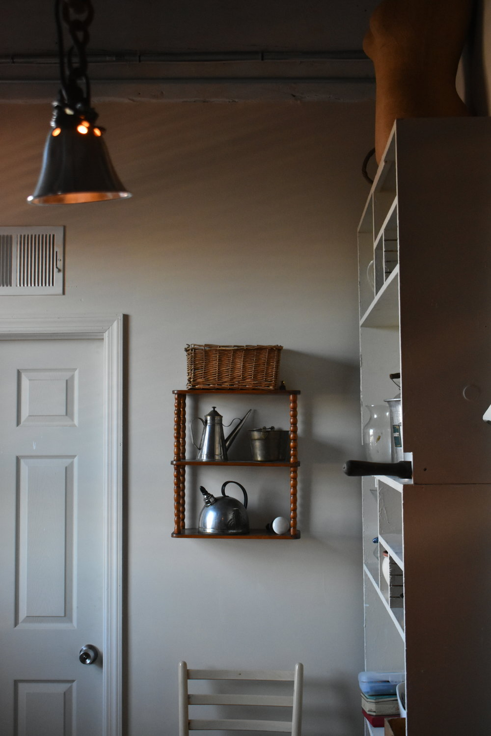 The Willow Avenue Atelier. Hanging shelf: a Hayloft purchase