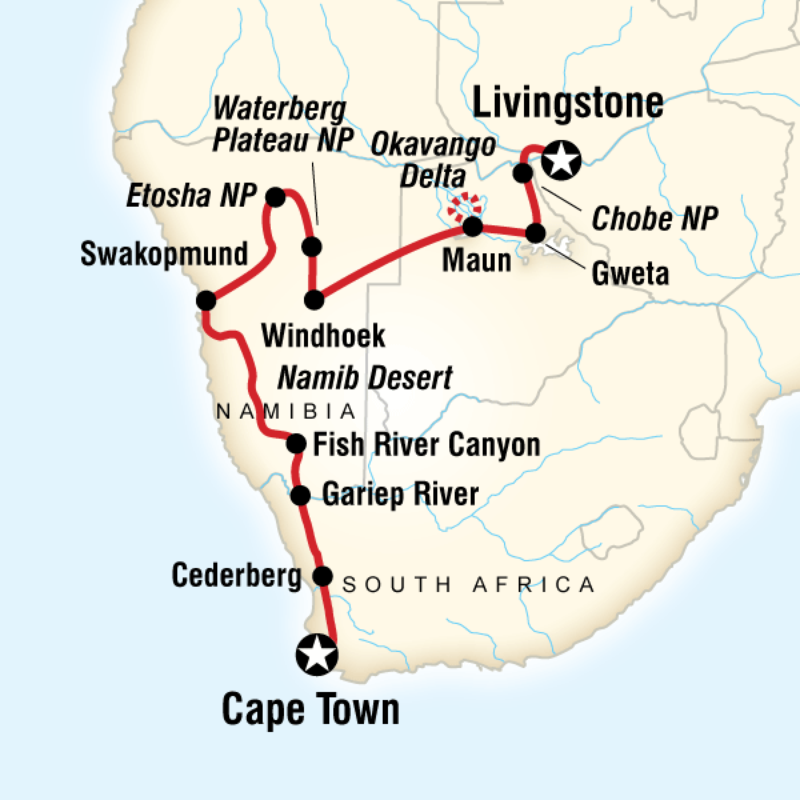 Overland route through southern Africa