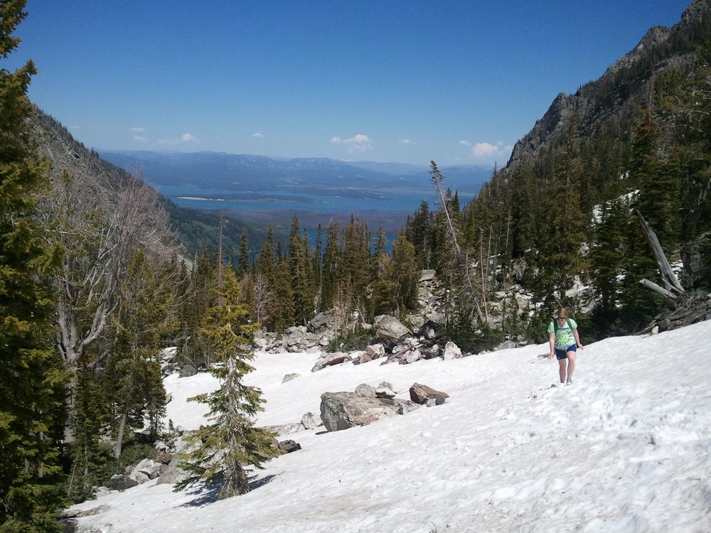 Me hiking through an avalanche zone in late July of 2012 through Paint Brush Canyon in Grand Teton