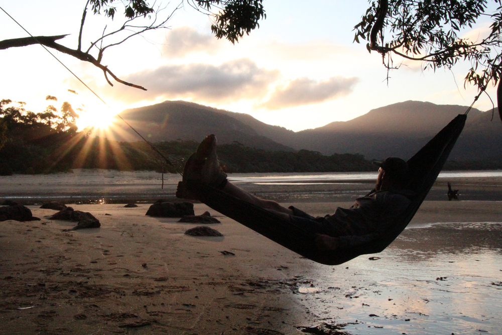 Hammock sunset Sealers Cove Wilsons Prom Victoria Australia HIking thisworldexists this world exists eno hammocks hammock