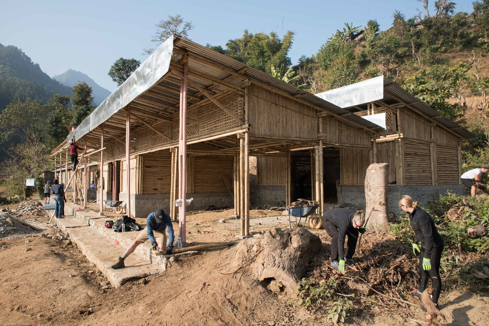 Our THISWORLDEXISTS education project in Sorung Chhabise. Jo and her daughter Madie can be seen in the front right of the shot. PC @ryangraymedia