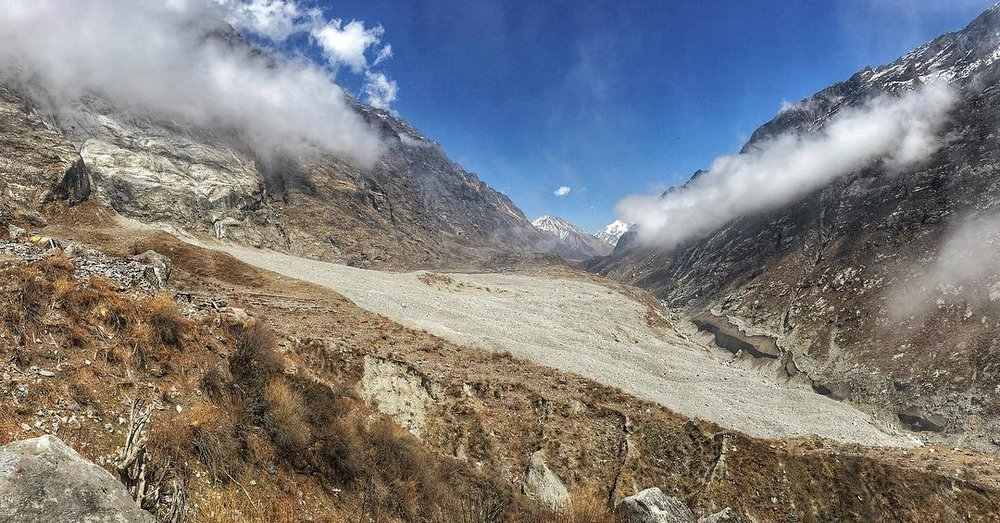 Rock and Ice cover the old town of Langtang.  PC| @wild.nature.travel