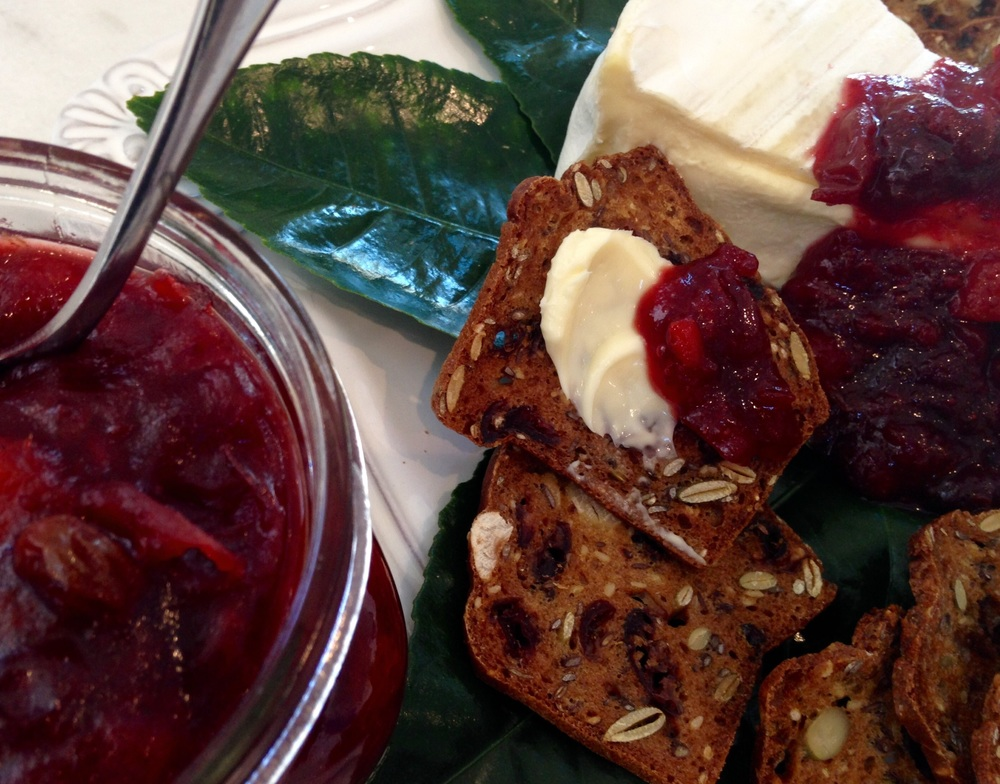Not only is cranberry chutney the perfect accompaniment for your Thanksgiving turkey - it also makes a fabulous appetizer when served with your favorite Brie and crackers!