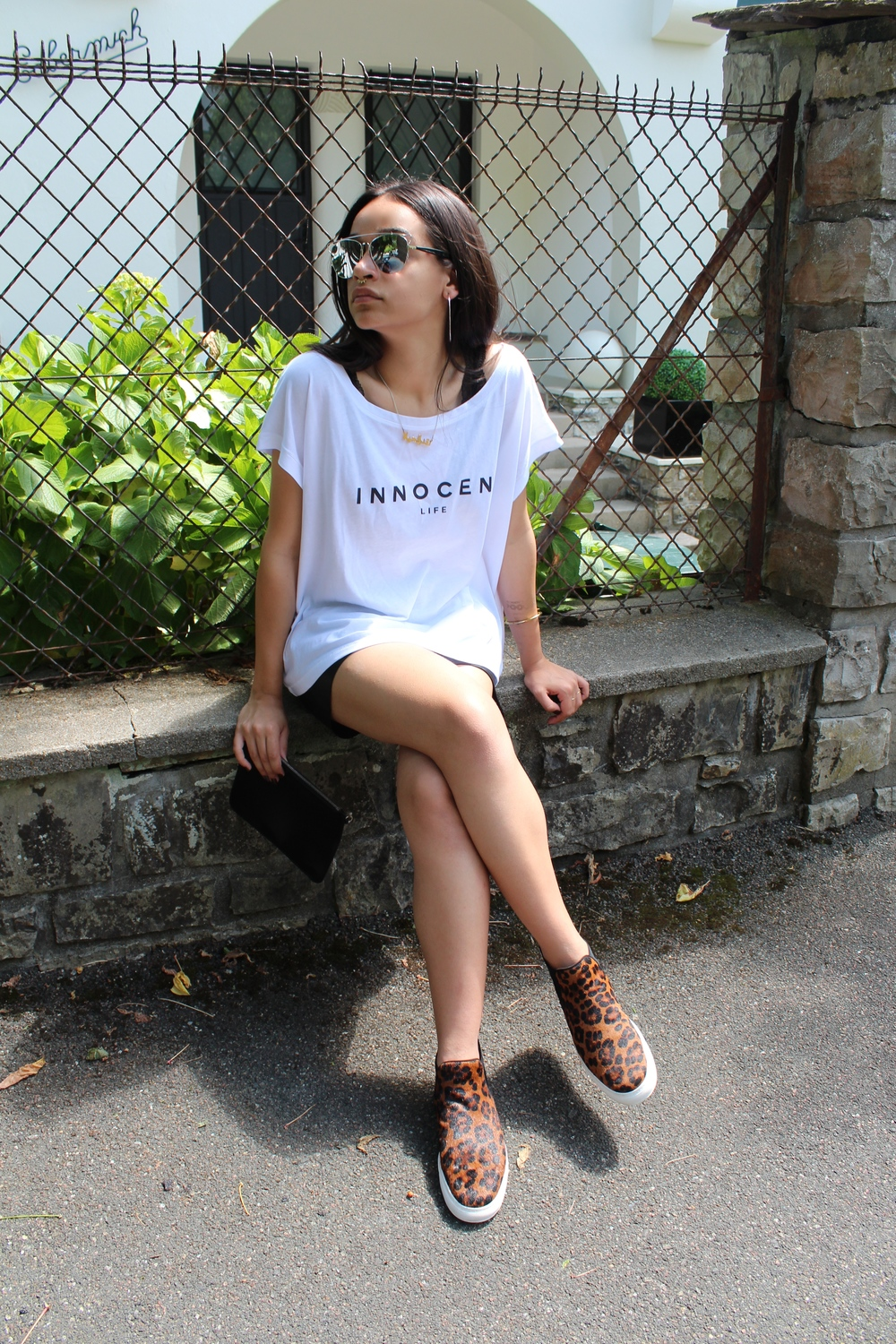 The Innocent Life t-shirt featured in a casual, sporty outfit.