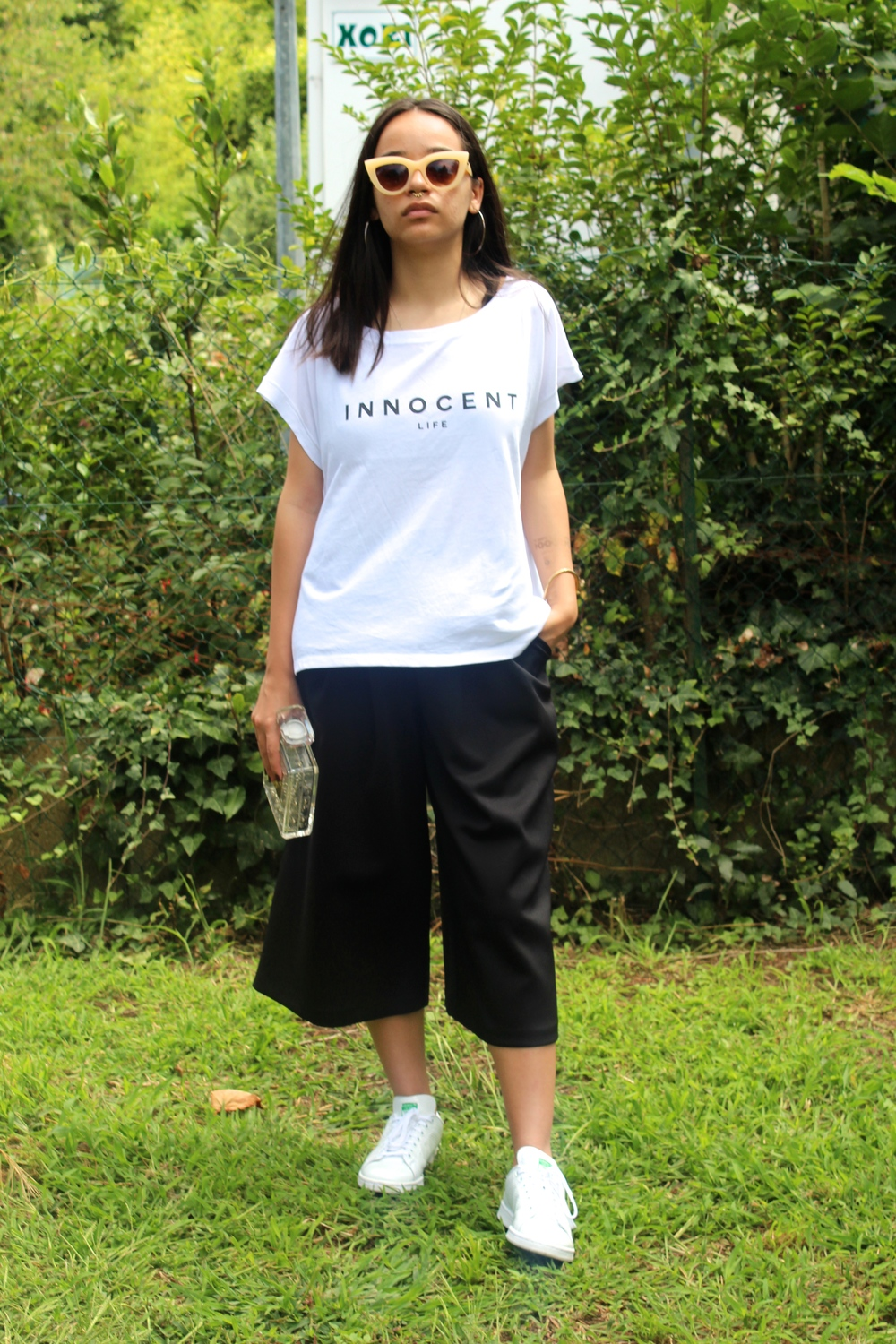 The Innocent Life t-shirt featured in a classier yet relaxed outfit.