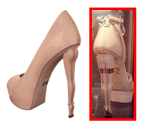 Dukas Silhouette Anniversaire Poudre Rose (left) & Charlotte Dellal's Pre-Fall 2014 shoe (right)