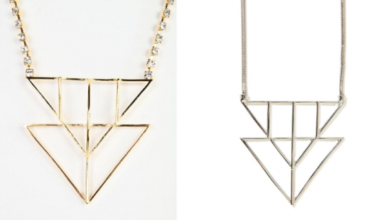 Golden's necklace (left) & the one that is currently being sold by Nasty Gal (right)