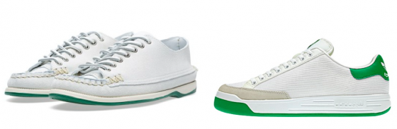 Yuketen's Saylor Sole Sneaker Moc (left) & Adidas' Rod Laver (right)