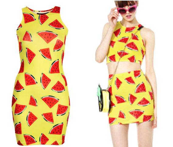 Kuccia's Watermelon Minidress (left) & Nasty Gal's Juicy Fruit pieces (right)